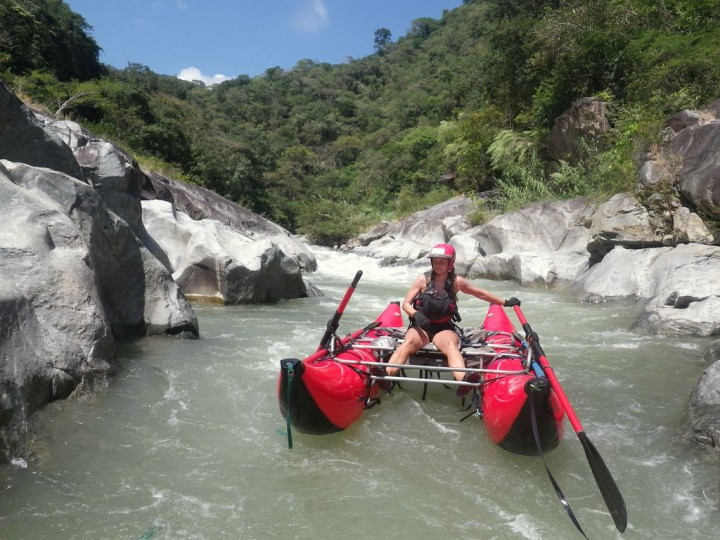 The author ships her oars on a narrow section of the Rio Atoyac, Oaxaca Mexico.