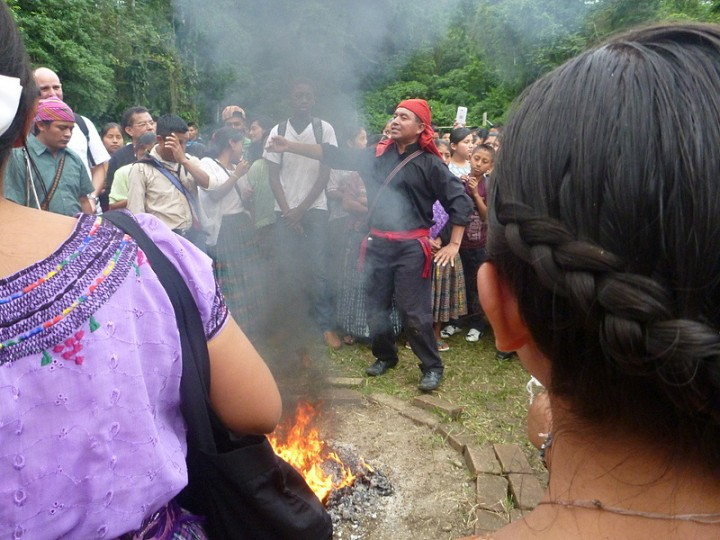 8c The opening school ceremony was conducted by a traditional Mayan spiritual leader