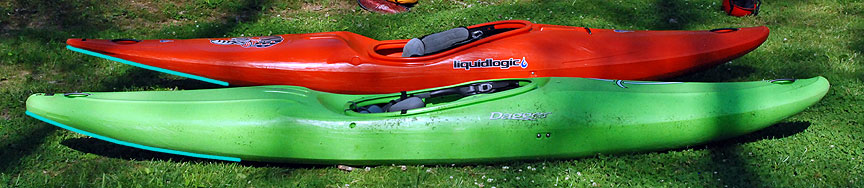 Notice the difference in stern rocker between the flatter Stinger and the rounder Green Boat.