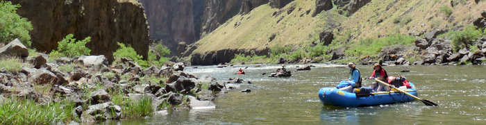 raft in the bend of a green river