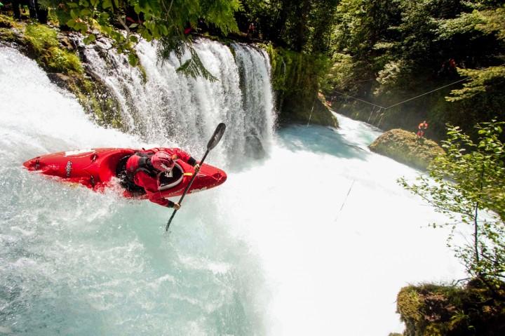 Rush Sturges flying off Spirit Falls. ©Sam Drevo
