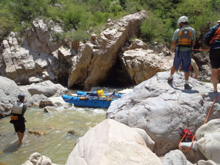 Lining a cataraft in the Mulatos Canyon in Sonora Mexico.