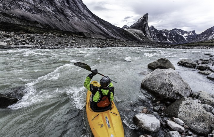 Boomer notches the first descent of Baffin Island's Weasel River. ©Sarah McNair-Landry