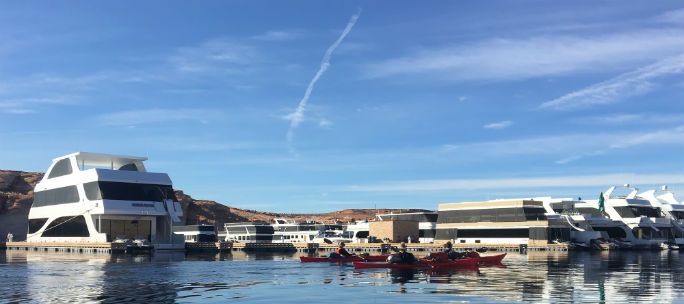 As we finish out the final straight stretch of the 87-mile trip, we glide past a different form of recreational amenity at Antelope Point Marina. Seeing how others choose to recreate on the lake illustrates just how varied the approach at Lake Powell can be for so many people.