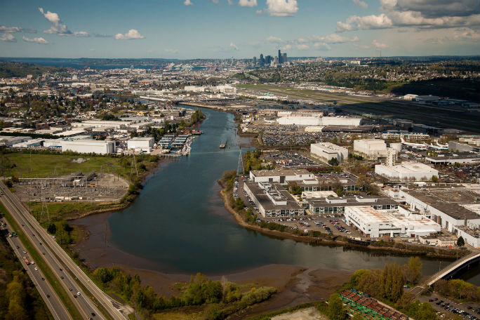 Aerial view of the Duwamish River. Photo: Ned Ahrens