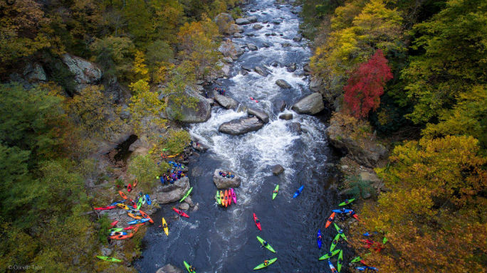 Aerial shot of a race finish on the Russel Fork river. Photo: Gareth Tate
