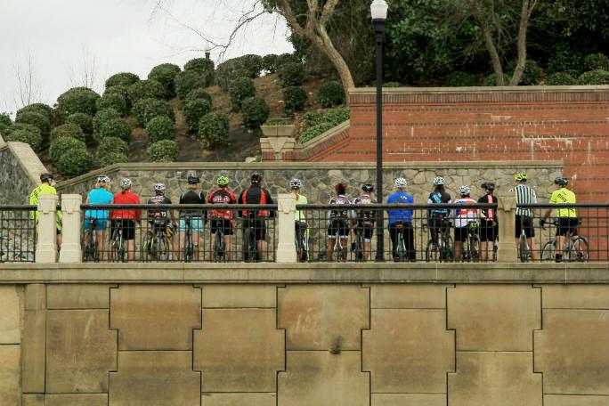 A group bike ride on Columbus's Riverwalk.